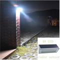 Solar Wall Lights Outdoor Aluminium Alloy 48 LED Microwave Radar Sensor Waterproof Energy Saving Lamp Lamps For Garden