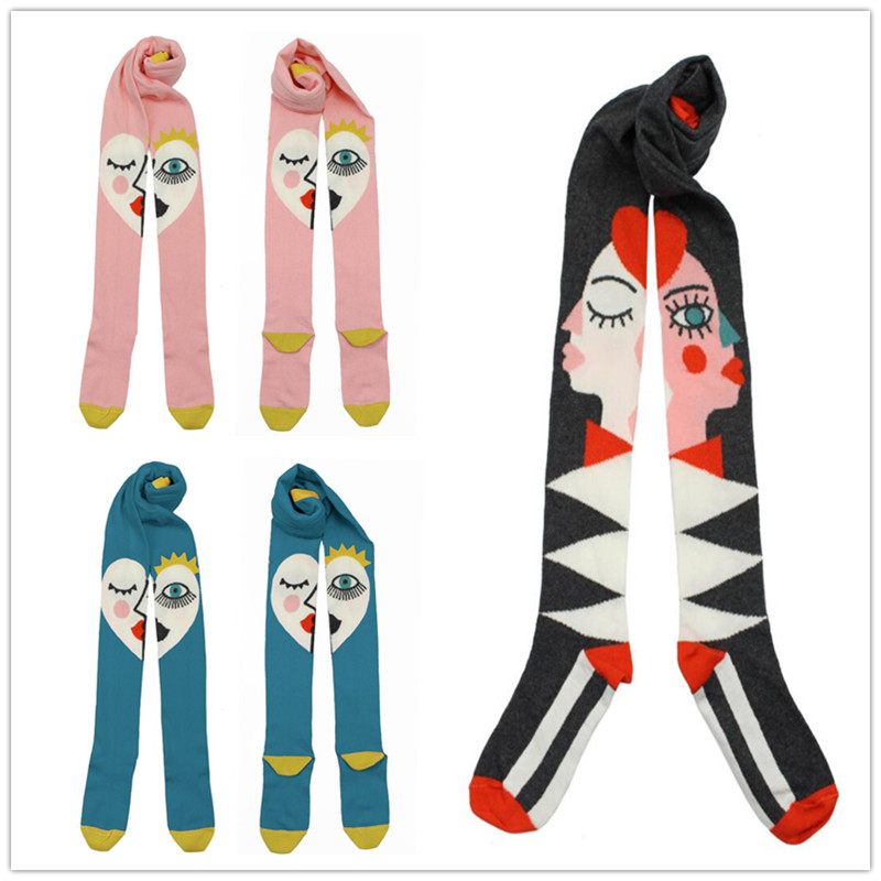 BOBO CHOSES Kids Girls Baby Tights Stockings Eye Pattern Baby Girl Tights Tiny Cottons Cute Children Stocking For Kid 0-6 Years rib knit tights
