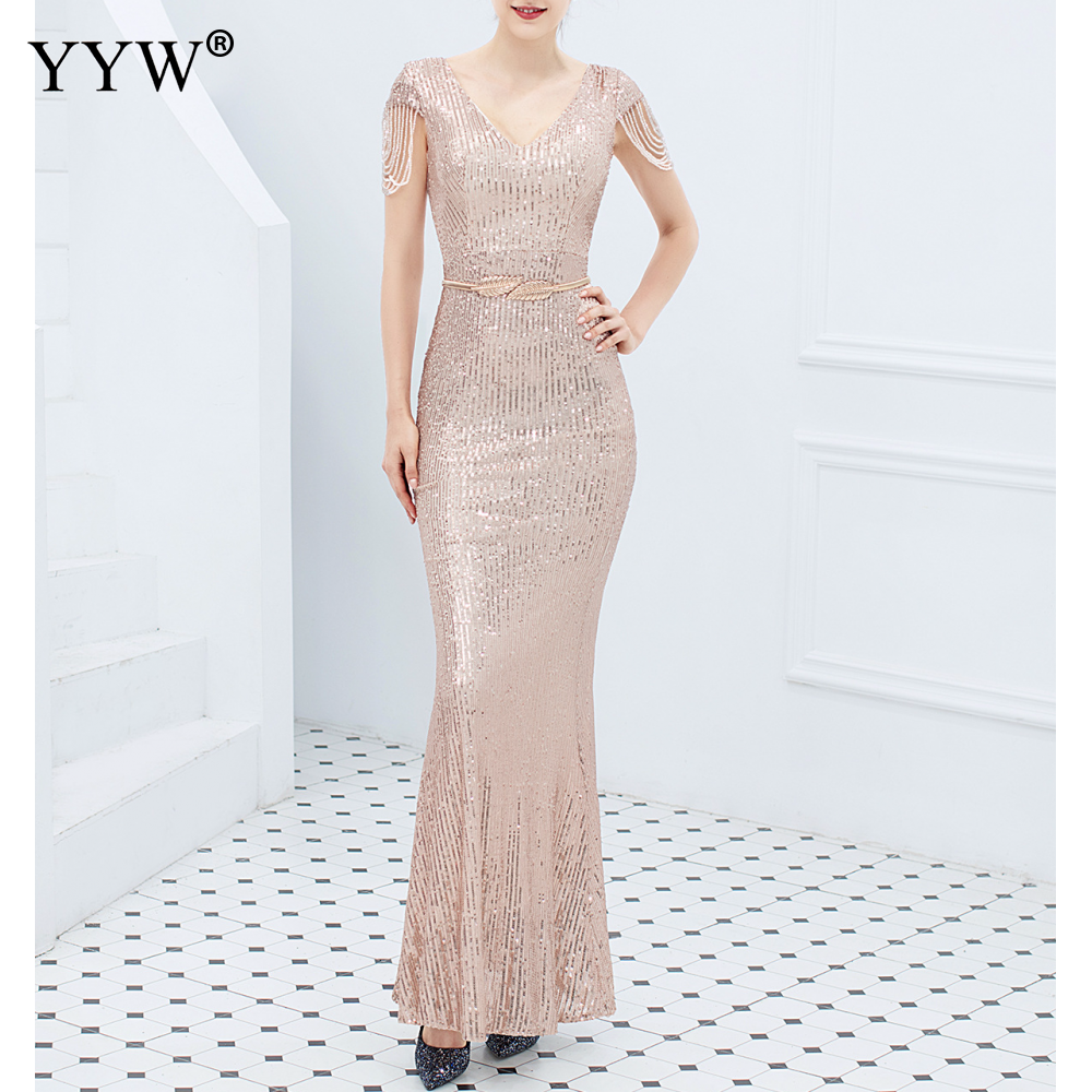 Luxury Sequined Women Evening Dress V Neck Short Sleeve Mermaid Party Gowns Short Sleeve Sexy Robe Femme Elegant Formal Dresses 6