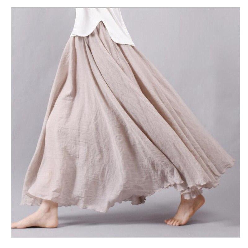 2018 Fashion Brand Women Linen Cotton Long Skirts Elastic Waist Pleated Literary style Vintage Summer Skirts Faldas Saia