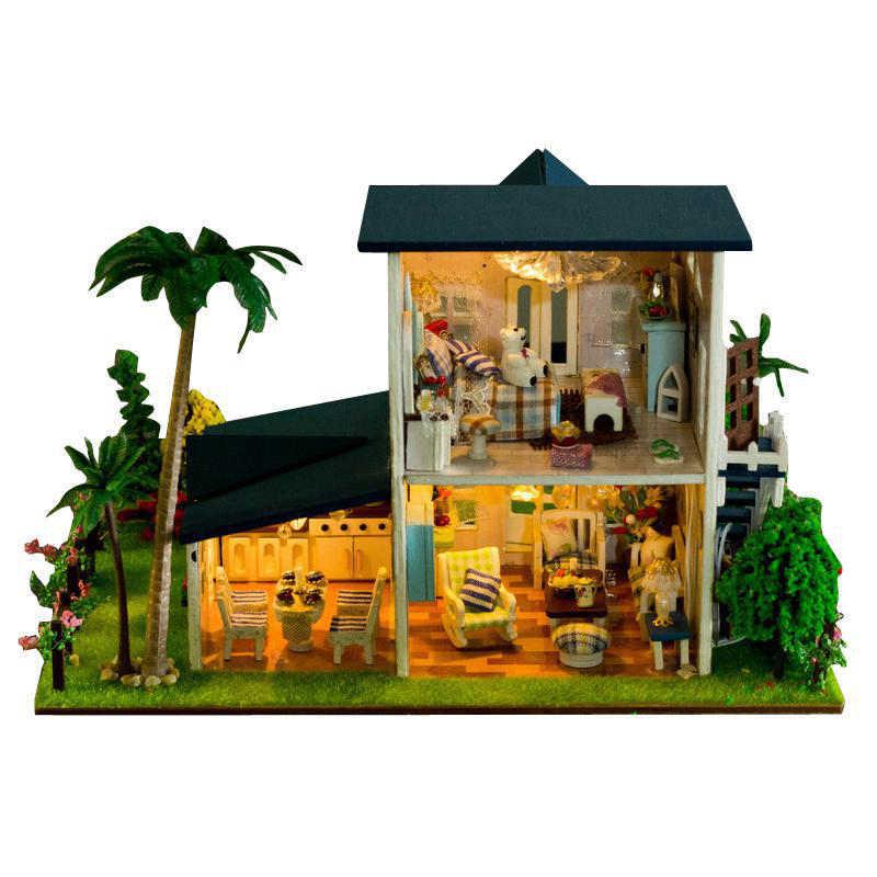 Trang Trí nội thất Thủ Công Mỹ Nghệ DIY Nhà Búp Bê Bằng Gỗ Búp Bê Nhà 3D Mô Hình Thu Nhỏ Kit dollhouse Đồ Nội Thất Phòng LED Ánh Sáng 13015