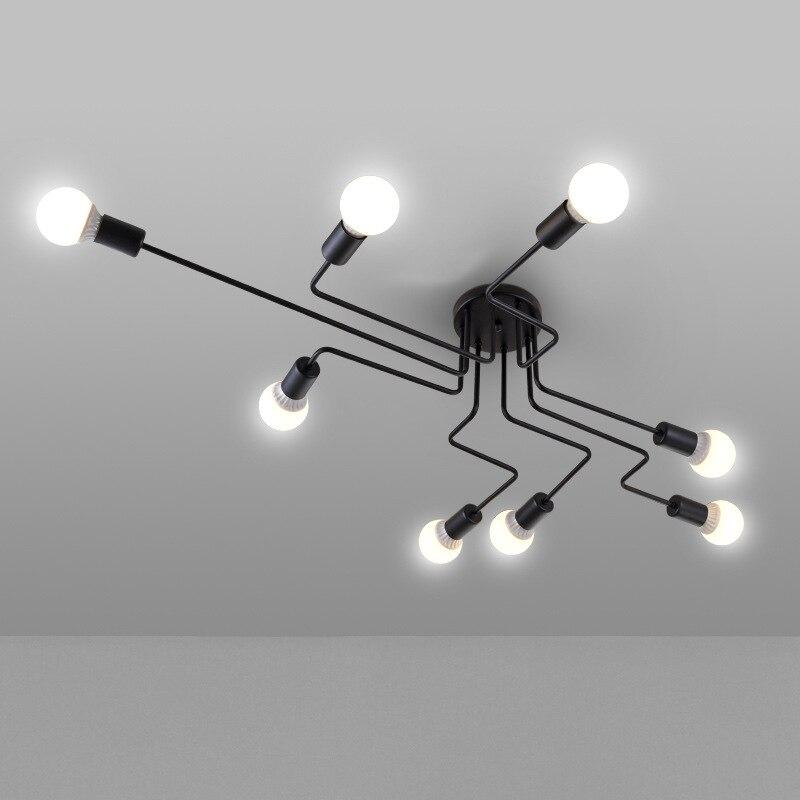 Fer noir 4/6/8 branchement bulle lustre 220 v moderne lustre lumière salon lustre éclairage
