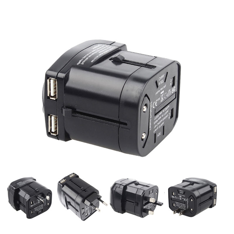 New Original Design Universal All in One Worldwide Travel Power Plug Adapter Charger with Dual USB Charging Ports