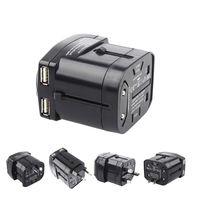 New Original Design Universale All in One Worldwide Travel Power Plug Adapter Charger con Doppio Porte USB di Ricarica