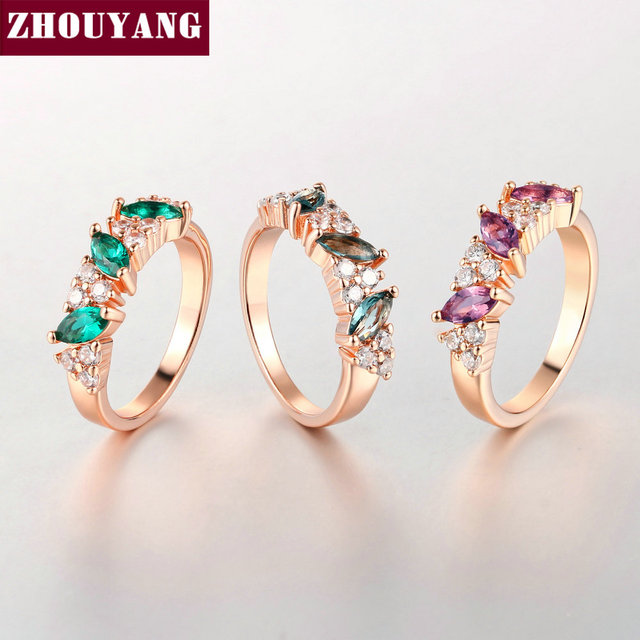 ZHOUYANG Top Quality Crystal Ring Rose Gold Color Austrian Crystals Full Sizes W