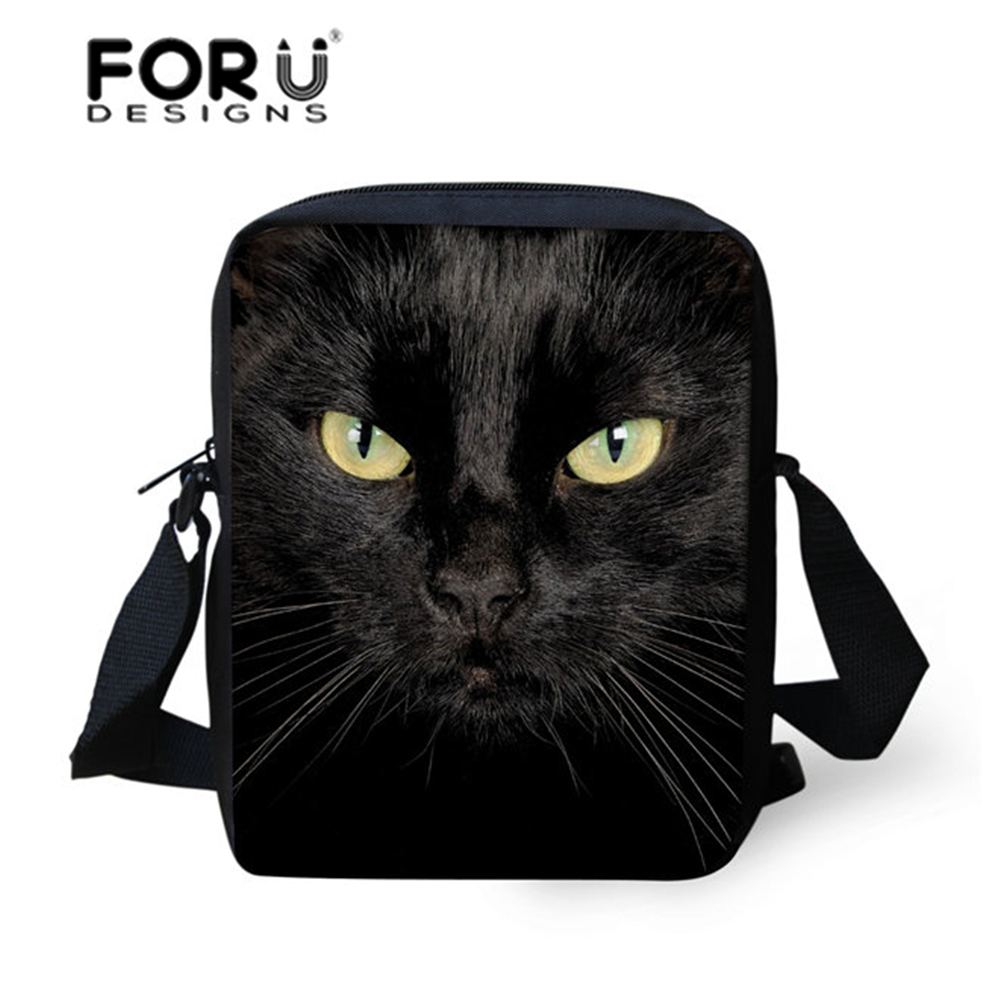 Brand Designer Black Funny 3D Jeans Cat Printed Women Messenger Bags Girls Crossbody Bags,Ladies Small Shoulder bag Bolsos Mujer