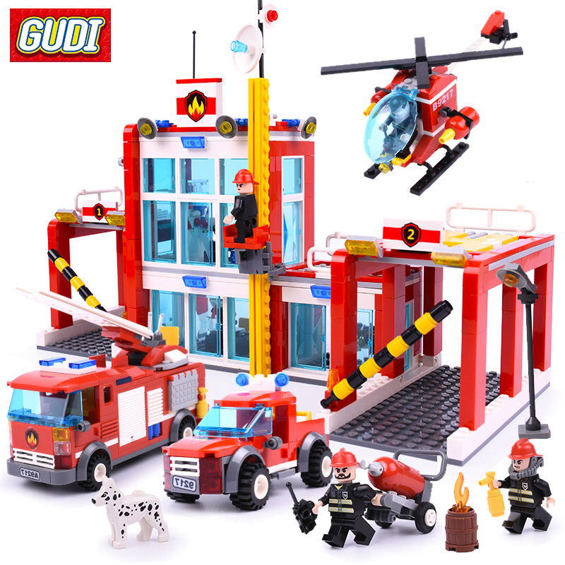 GUDI 9217 Blocks Large Fire Rescue Set Assembled DIY Building Blocks Fire Station Helicopter Truck Block Toys For Children gudi city police truck car blocks toys assembled model building kits blocks toys christmas gift toys for children boys 9306