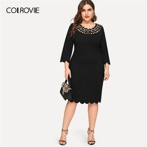 ed0fd281cb8 COLROVIE Plus Size Black Casual Womens 2019 Spring Elegant