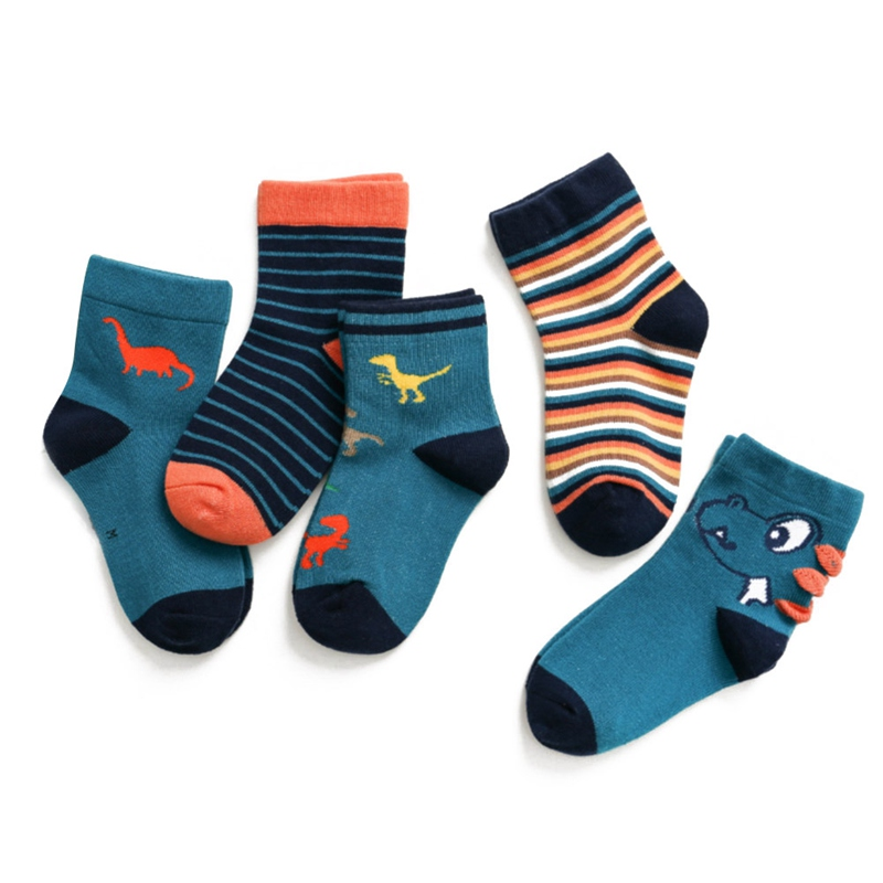 Kids Cotton Socks(1 Set=5 Pairs) New Autumn Winter Cartoon Socks For Boys And Girls  Children Mid Tube Socks(China)