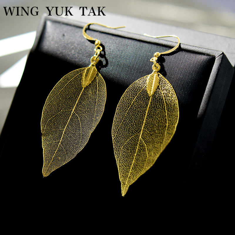 wing yuk tak 2018 Top Fashion Unique Gold Color Natural Leaves Drop Earrings for Women Bold Earrings Vintage Party Jewelry