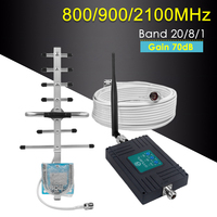 2g 3g 4g GSM Repeater Tri Band 800/900/2100MHz Cell Phone Signal Booster Gain 70dB GSM WCDMA UMTS LTE Cellular 4G Amplifier Set