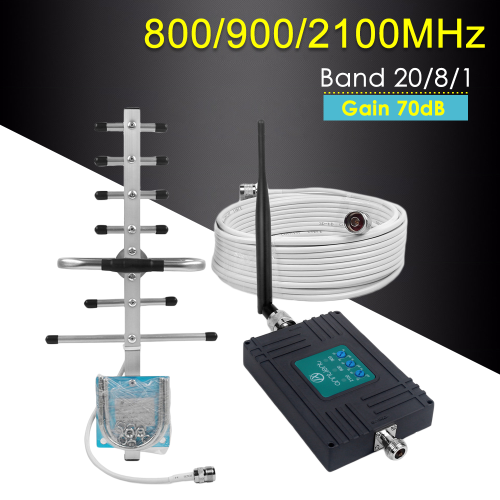 2g 3g 4g GSM répéteur Tri bande 800/900/2100 MHz amplificateur de Signal de téléphone portable Gain 70dB GSM WCDMA UMTS LTE cellulaire 4G amplificateur ensemble
