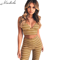 Macheda 2017 Women Suit V Neck Yellow Tracksuits Set Hip Fitness Suits Sexy Women Costume Sets