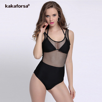 Kakaforsa 2017 Sexy One Piece Swimsuit Women Solid Swim Wear Thong One Piece Swimwear Mesh Bathing