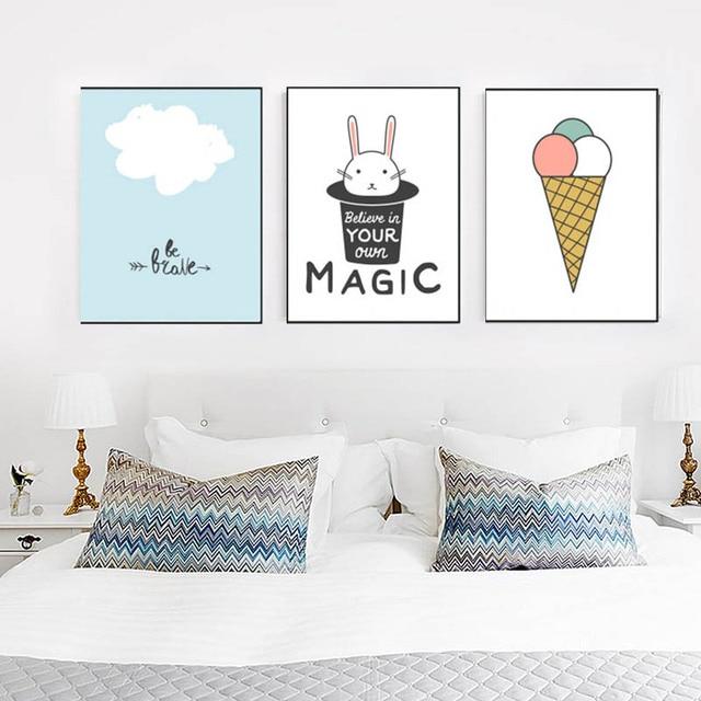 zomervakantie nordic moderne eenvoudige leuke magic item nijntje ijsje ontspannende poster voor kleuterschool slaapkamer