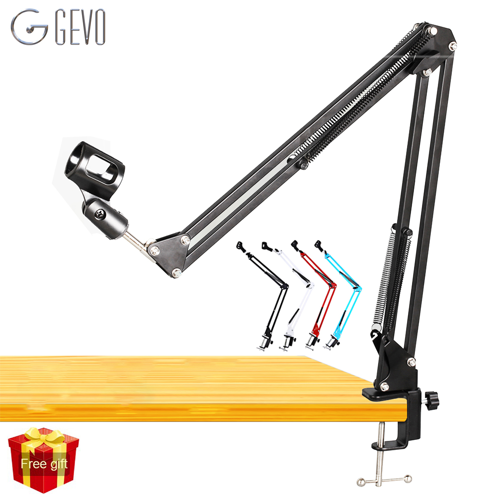 NB 35 Stand For Microphone Suspension Arm Adjustable Metal Boom Scissor Arm Holder With Mic Clip Table Mounting Clamp For BM 800 цена