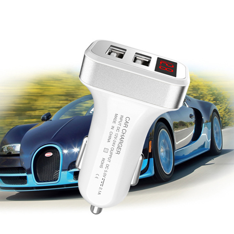 5V 2 1 A LCD Dual USB Smart Auto Car Phone Adapter Charger For Huawei P9 P8 P10 P20 Lite Pro Honor 10 8 9 Lite Charging Cargador in Mobile Phone Chargers from Cellphones Telecommunications