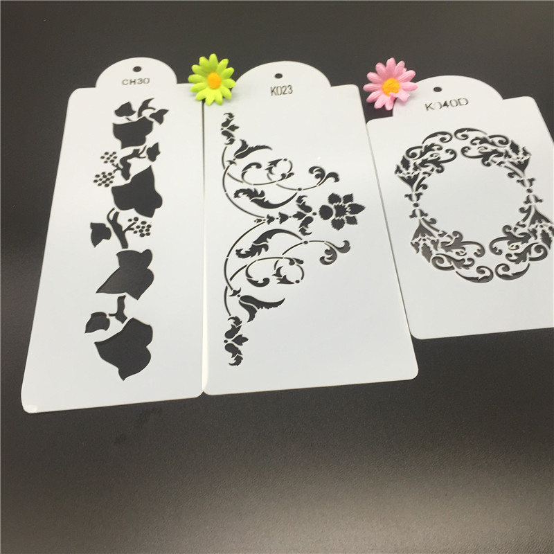 3PCS Side Spray Cake Decorating Airbrush Stencil Candy ...