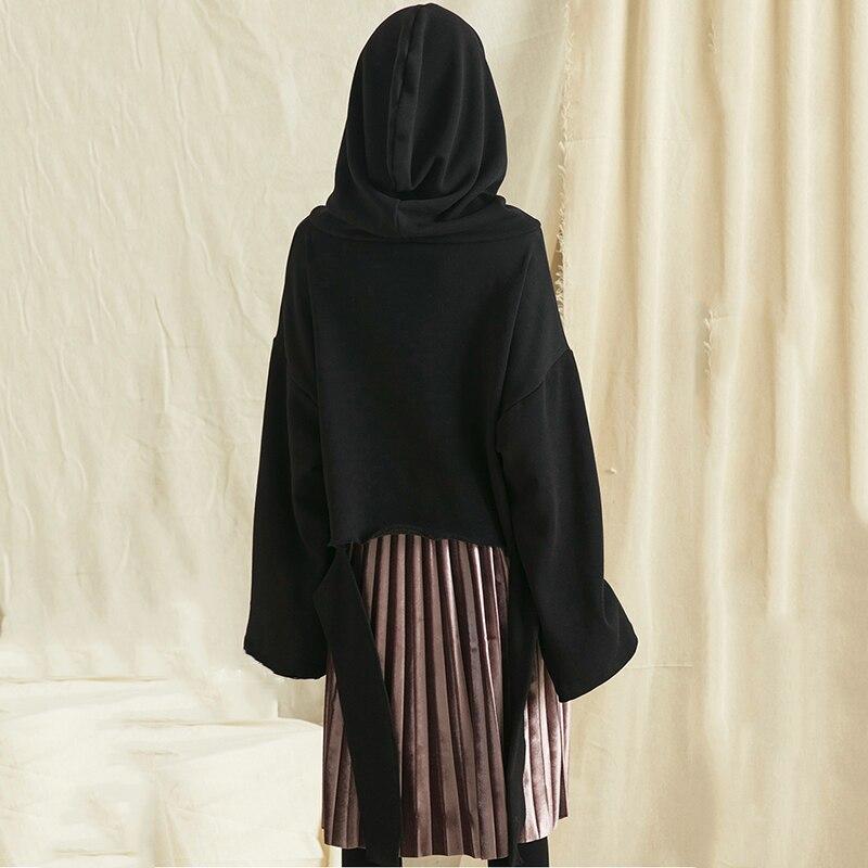 Casual Gwy2010 Capuchon Black Tops Couleur Solide Gwy2010 Pleine Nouveau Femme À Shirts 2018 Femmes xitao gray Corée Automne Manches Col Irrégulière xHAqIn