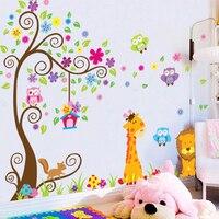 ג 'ירפה אריה קישוטי עץ ציפורים ינשוף מדבקות קיר לילדים משתלת חדר גן ילדים חדרי שינה וול אמנות עיצוב ציור קיר PVC מדבקות