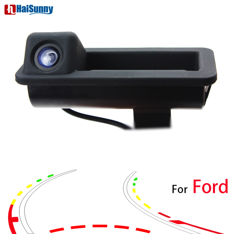 HaiSunny For Ford Focus(2C) 2010 2011 Mondeo 2010 2011 2012 Fiesta S-Max Car Rear View Camera Trunk Handle Dynamic Trajectory pal hd 960 576 pixels car parking rear view camera for ford mondeo focus hatchback fiesta s max 2007 2008 2010 2011