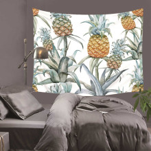 Pineapple Tapestries Tropical Fruit Wall Hanging Green Leaves Geometry Watercolor Dorm Decor Bedspreads 130Cm Woven Sublimation