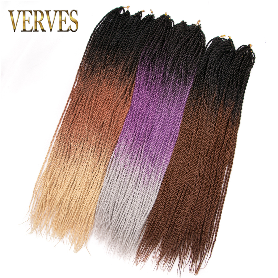 VERVES Ombre Senegalese Twist Hair 1 pack 24 inch Crochet braids 30 Roots/pack Synthetic Braiding Hair extensions with crochet