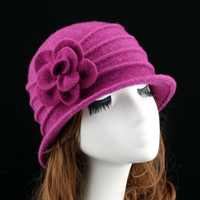 New Dome Fedora Middle aged ladies Wool Hat Mom Hats in Autumn and Winter Warm Cap with flower women church hat