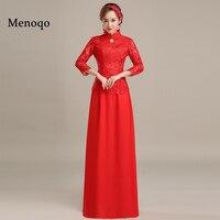 Menoqo Long Evening Dresses 2019 Women Ever Pretty High Neck Wedding Events Red Evening Dresses New