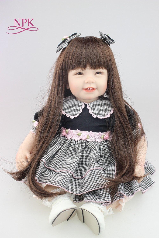 Npk 55センチ赤ちゃん笑顔人形シリコーン生まれ変わった人形女の子のおもちゃ早期教育人形美しいプリンセス誕生日ギフト子供のおもちゃ  グループ上の おもちゃ & ホビー からの 人形 の中 1