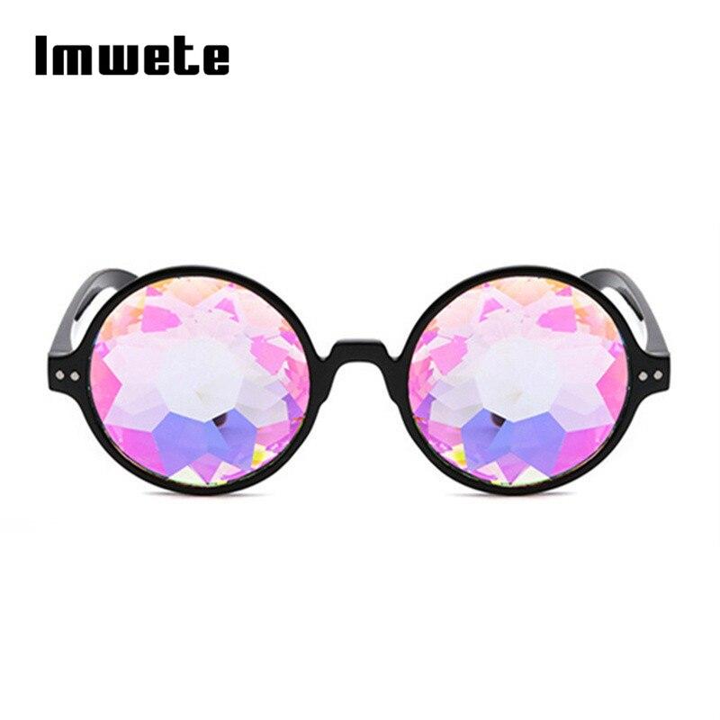 Gafas de sol caleidoscopio redondas Rave Sinterklaas gafas de sol feativales para mujer decoración fiesta club nocturno camuflaje niños gafas de sol