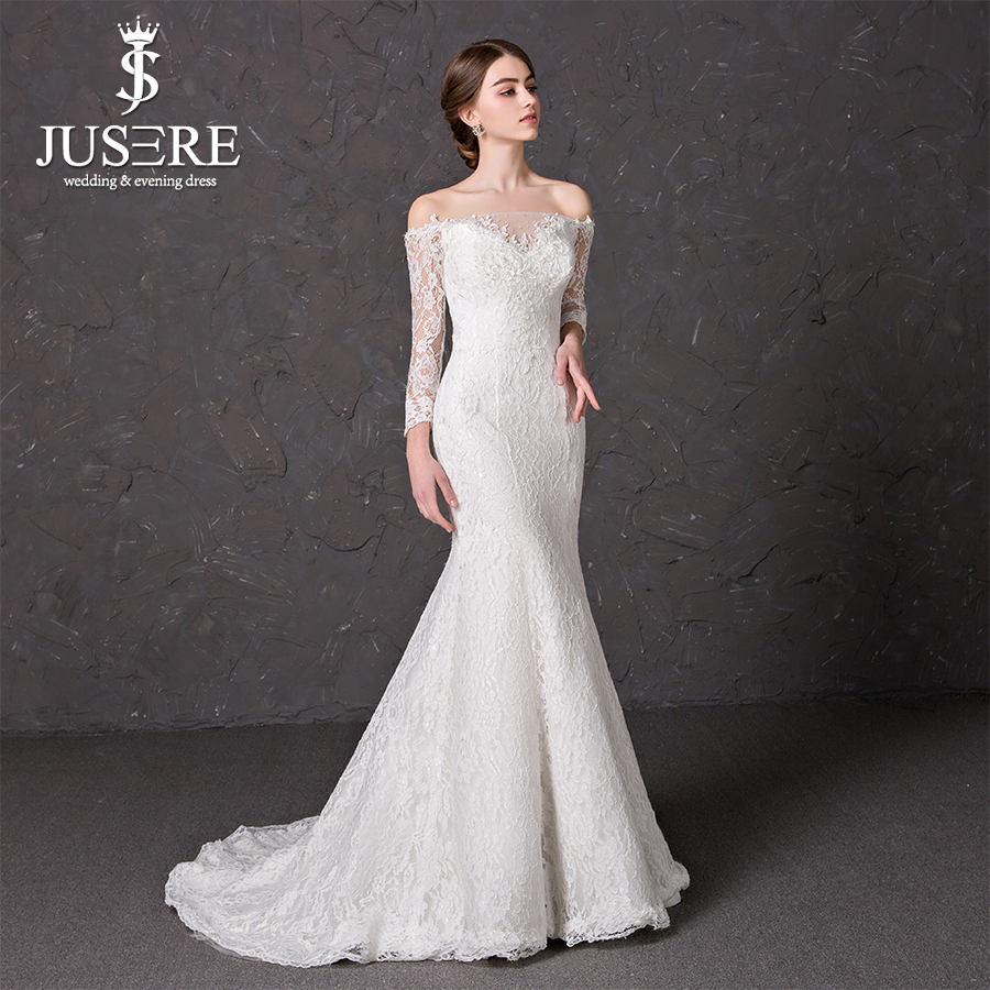 Boat neckline illusion long sleeves sweetheart neck lace for Boat neck lace wedding dress