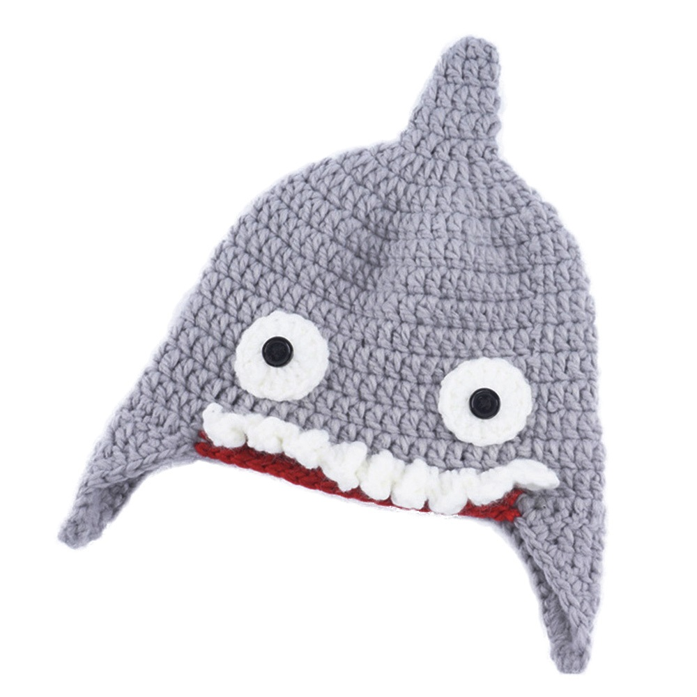 2018 Fashion Shark shape children winter autumn warm Knitted hat Wool Funny  cap Headwear Child Caps Accessories-in Hats & Caps from Mother & Kids on