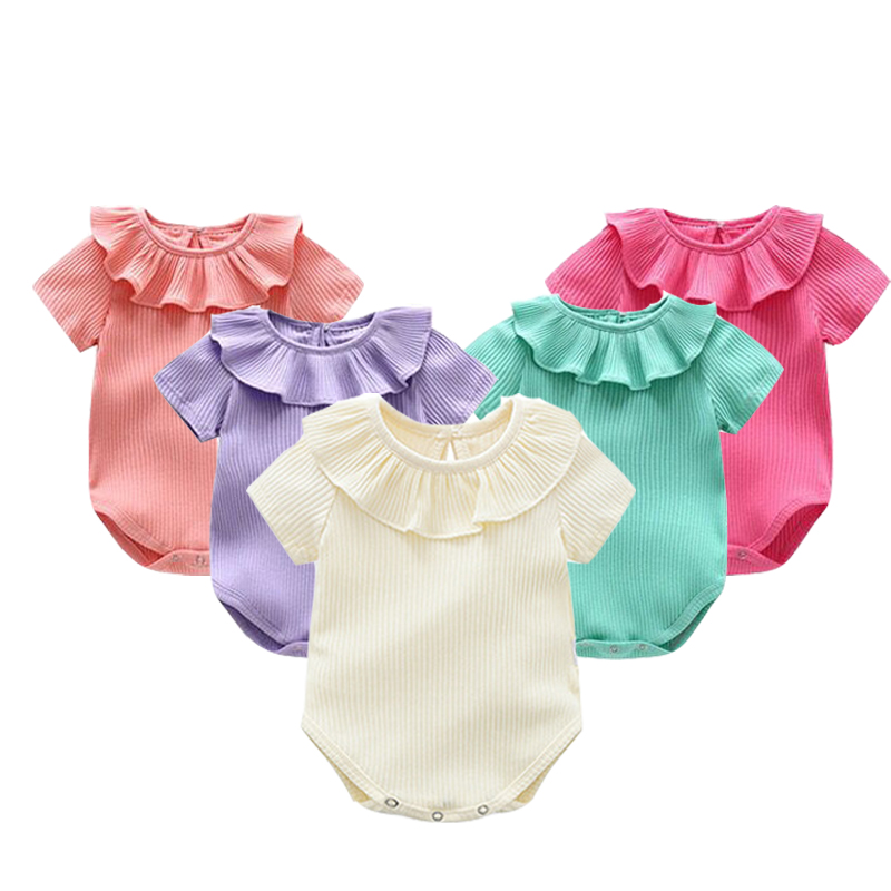 Summer Baby Body Girl Knitted   Rompers   Princess Newborn Baby Clothes Girls Boys Short Sleeve Jumpsuit Kids Baby Outfits Clothes