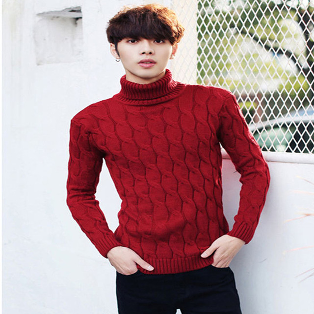 2017 Sell like hot cakes Men's tight turtleneck sweater thickening ...