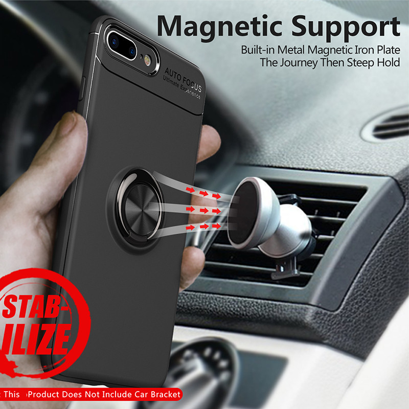 Magnetic Finger Ring Holder Phone Cases For Iphone 8 7 plus Case Luxury 360 kickstand Silicone Tpu Cover For Iphone 7plus 8plus