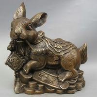 "10 ""Chinese Fengshui Copper Zodíaco Coelho Ano Dinheiro Riqueza Fu Estátua Escultura|sculpture|sculpture statue|sculpture rabbit -"