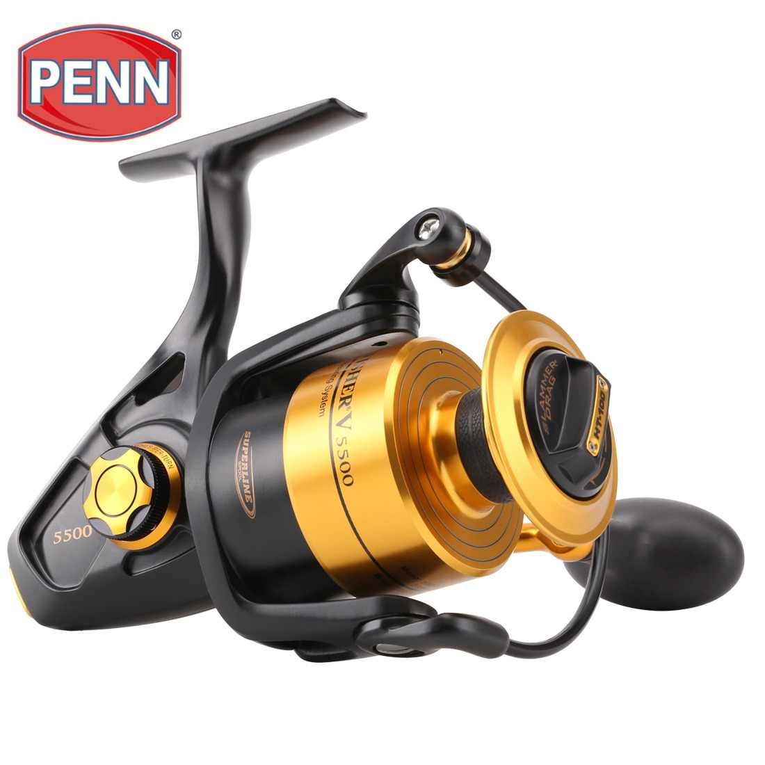 Original PENN SPINFISHER V SSV 3500-10500 Spinning Fishing Reel 5+1BB Full Metal Body HT-100 Saltwater Boat fishing reel