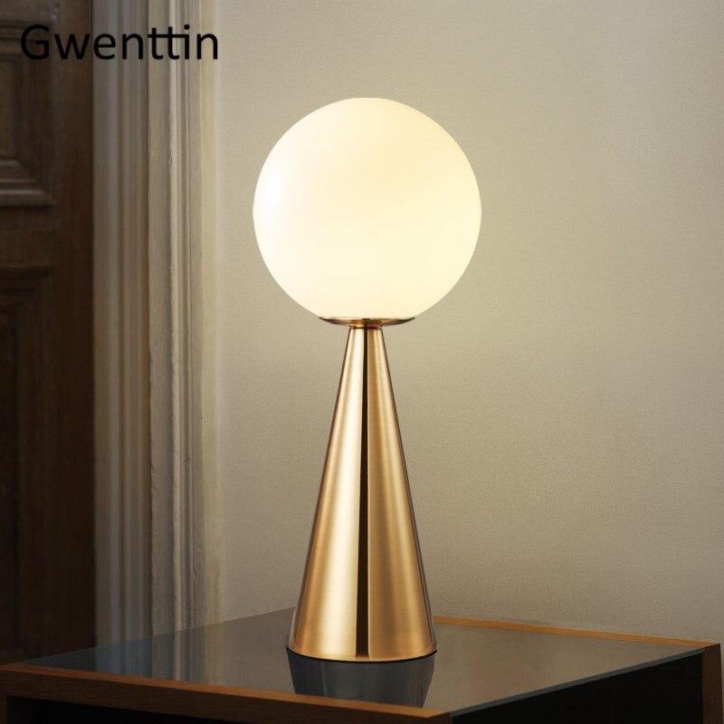 Modern Glass Ball Table Lamp for Bedroom Living Room Bedside Lamp Nordic Study Led Desk Light