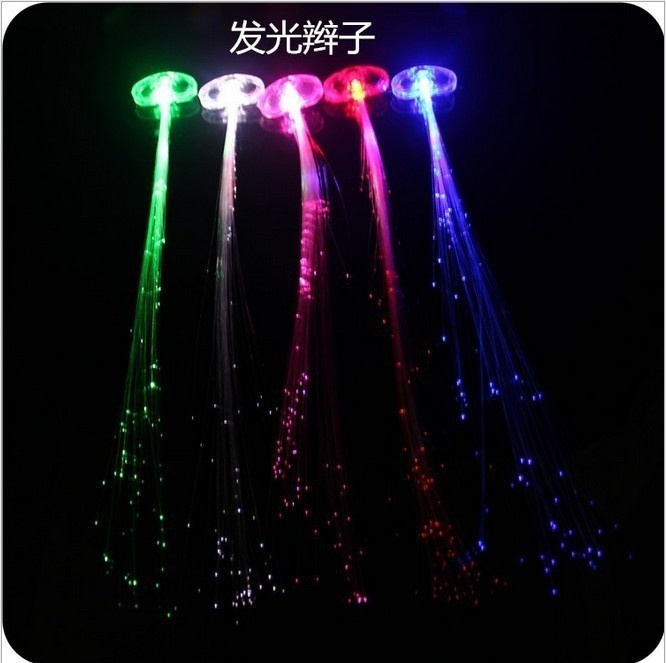 2pcs Butterfly Led Flashing Fiber Optic Hair Braid Barrettes For Girls Women Barrettes For Light Up Night Club Party Decor