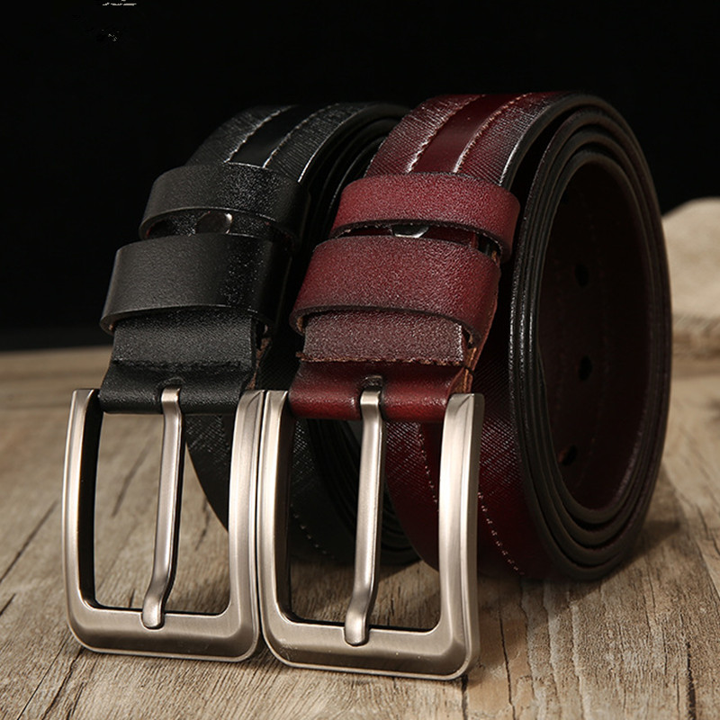 Back To Search Resultsapparel Accessories El Barco High Quality Cowskin Leather Men Belt Black Brown Casual Male Belts Luxury Design Pin Buckle Strap Cinturon Size 125cm Volume Large