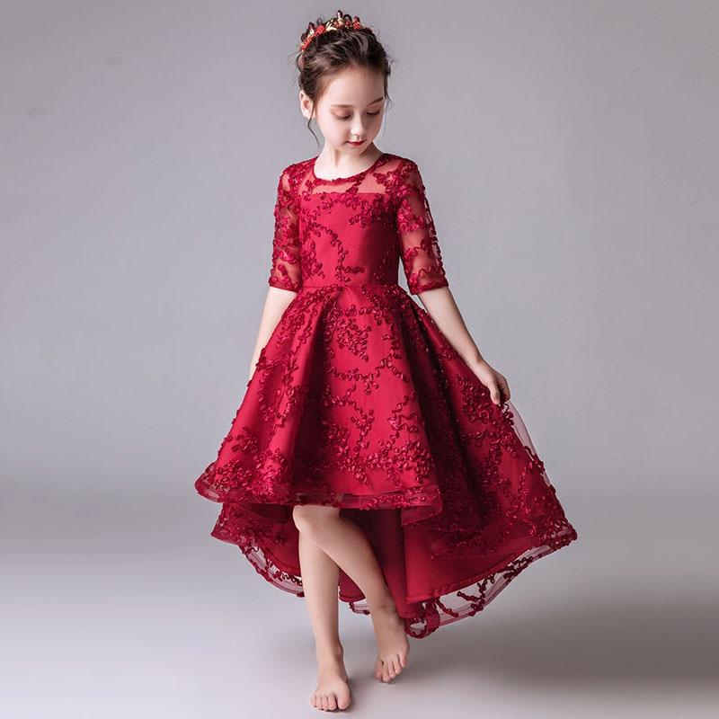Flower Girl Dresses for Wedding Short Front Long Back Princess Evening Dress Ball Gown Kids Pageant Dress Birthday Costume B408