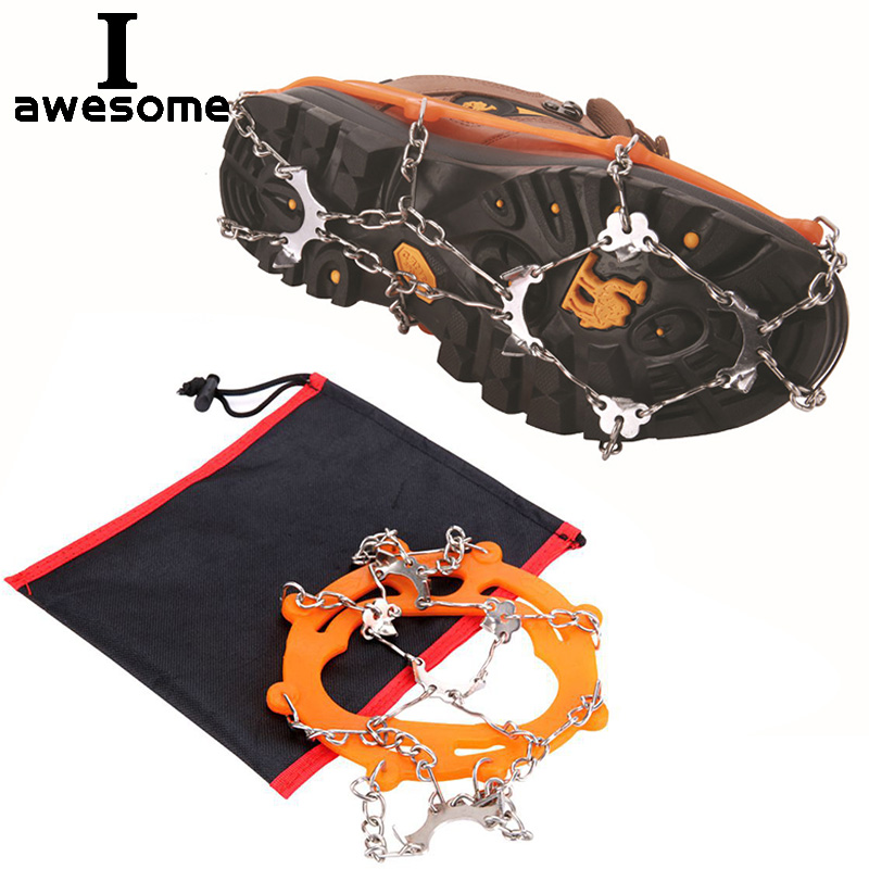 8 Teeth Steel Ice Gripper Spike For Shoes Anti Slip Hiking Climbing Snow Spikes Crampons Cleats Chain Claws Grips Boots Cover