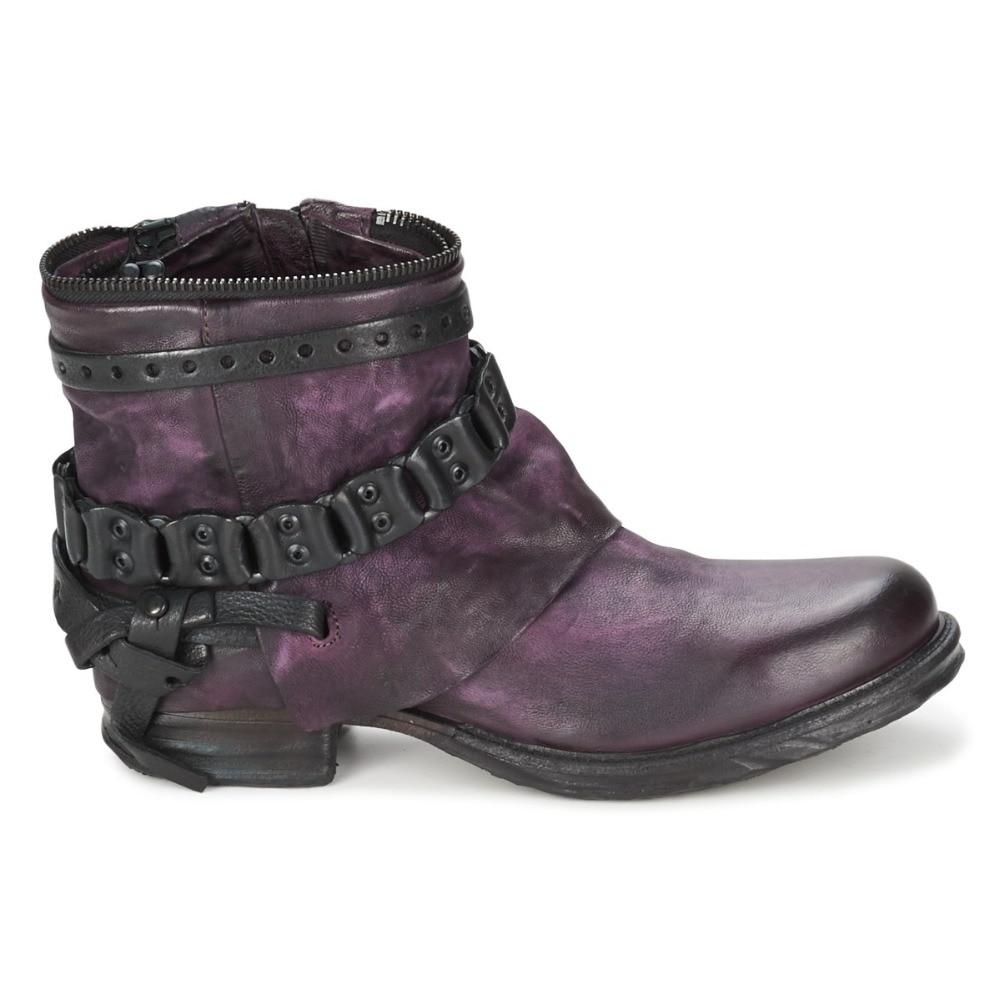 Mode Bota Cheville En purple Martin Chaussures Mujer Inside Noir Insid Zapatos Bas Chaînes Inside Inside Cuir Leather black Femmes Hiver Boot Femme Talons Fur purple Véritable Bottes Black Vintage 64Uqqxz