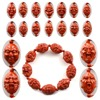 Chinese Tibetan Ancient Cinnabar Carved Buddhism Jewelry Ocean S Eighteen Buddha Bracelets Fit For Men And