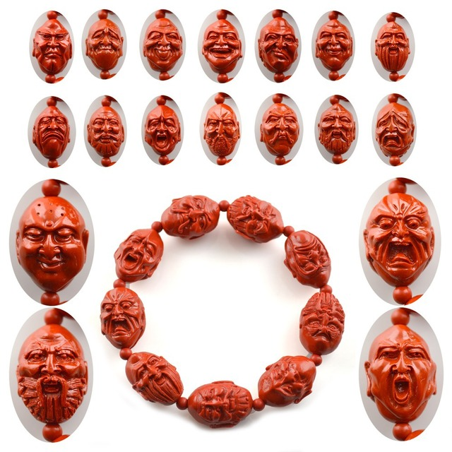 Chinese Tibetan Ancient Cinnabar Carved Buddhism Jewelry Ocean's eighteen Buddha Bracelets Fit For Men and Women Jewelry