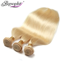 Bigsophy Hair Mongolian Straight 3PCS Bundles Human Weave Blonde 613# Color Remy Extension 10-30 Inch