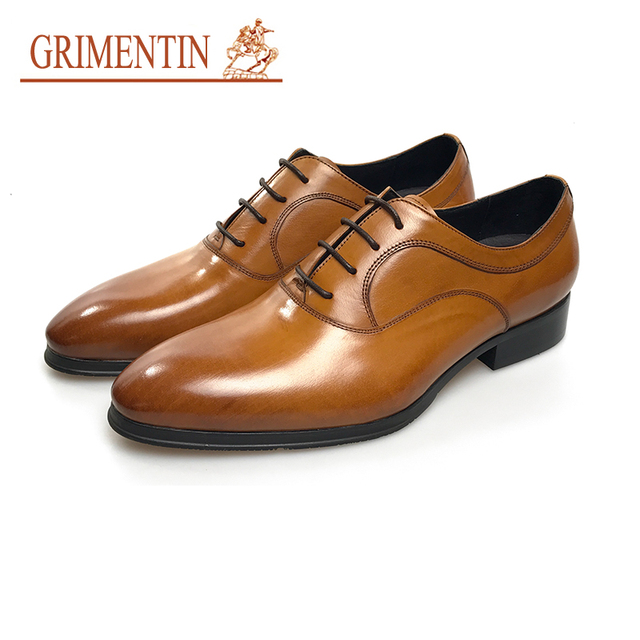 3d3f5ae9fc00 GRIMENTIN luxury tan mens dress shoes pointed toe italian leather shoes  business formal shoes