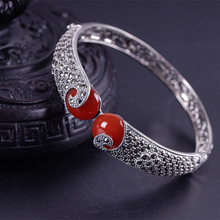 exotic hot style 925 sterling silver carve patterns or designs on woodwork with pomegranate barren woman bracelet