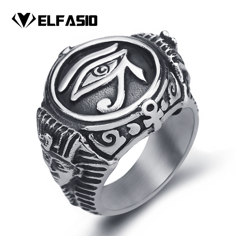 Mens Stainless Steel Ring Egyptian Pharaohs Eye of Horus Ra Udjat Silver Tone Jewelry принтер hp laserjet enterprise 700 m712dn a3 cf236a